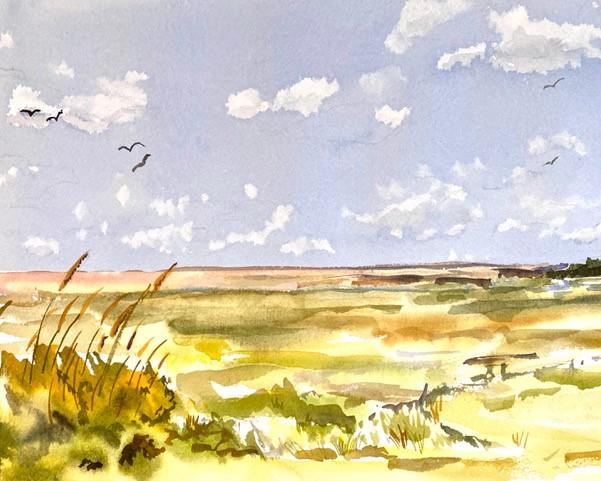 Charlie Stone Framed. Western Colorado artist Original 8x10 impressionist painting BIRD WATCHING Native American American Indian