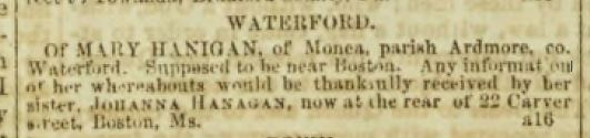 Missing Friends ad from the Boston Pilot 8/1851