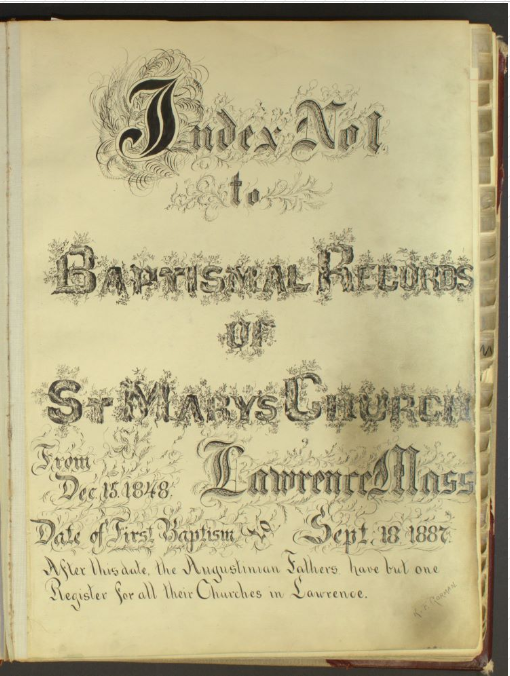 Index to St. Mary's Baptismal Records