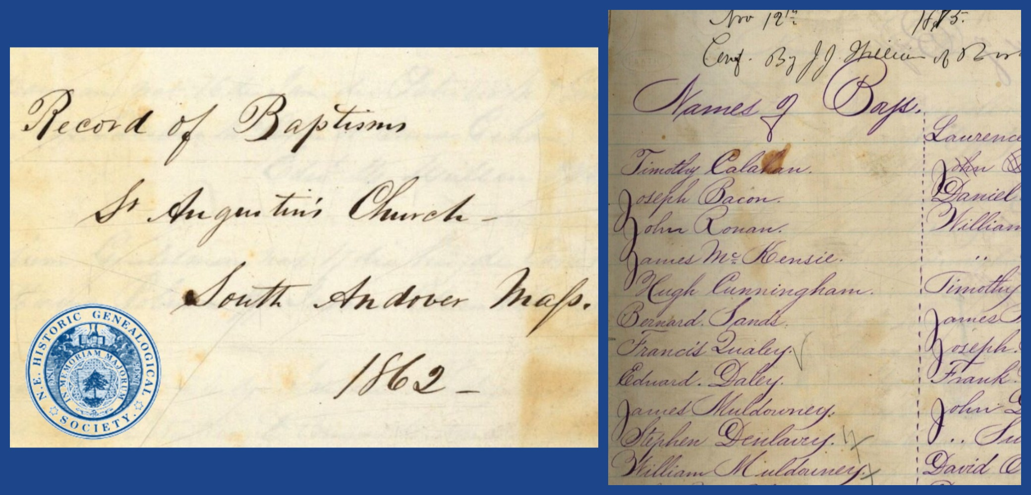 Archdiocese of Boston Roman Catholic Records from New England Historic Genealogical Society