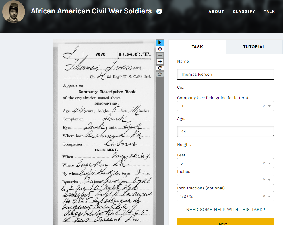 African American Civil War Soldiers Transcription Project through the African American Civil War Museum