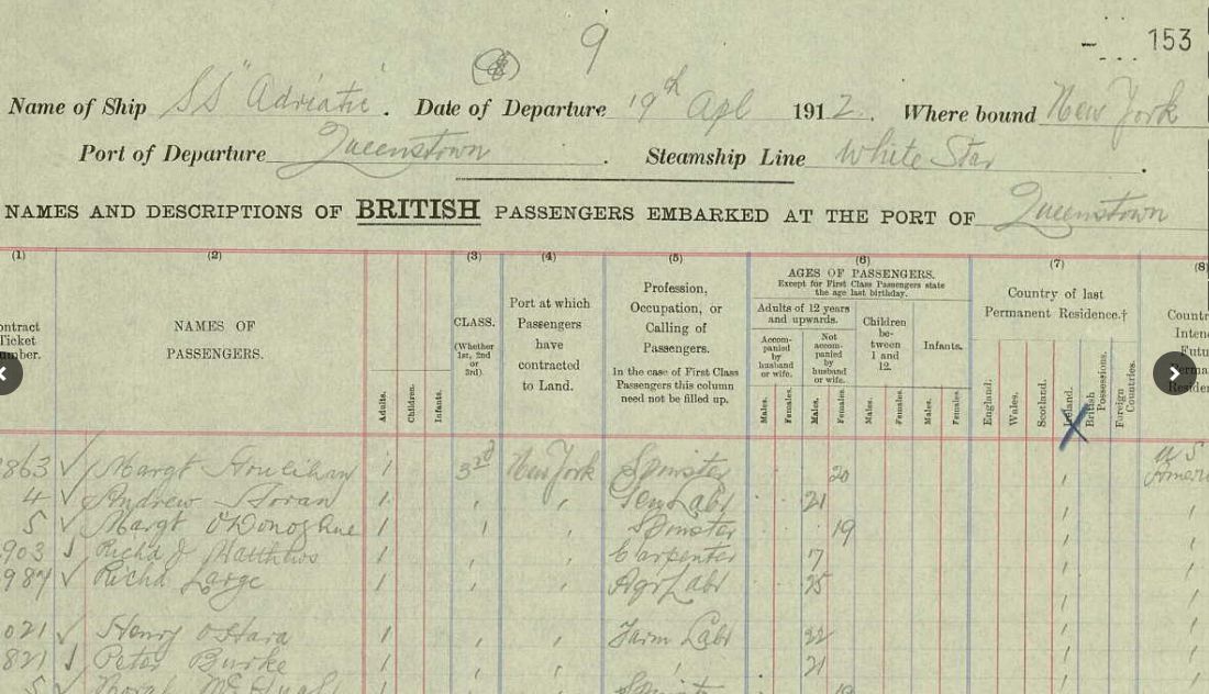   Name searchable Irish Ship manifests like this can be found on many majorgenealogy websites like Ancestry.com and FamilySearch. 