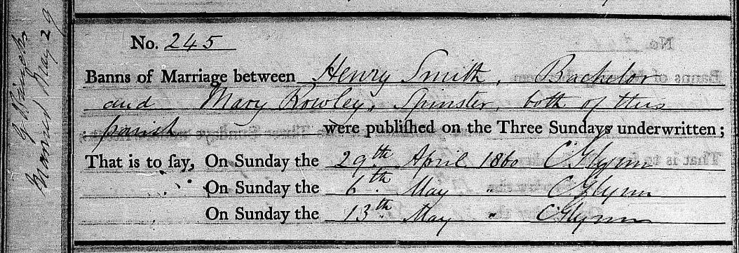 1860 Marriage Bann