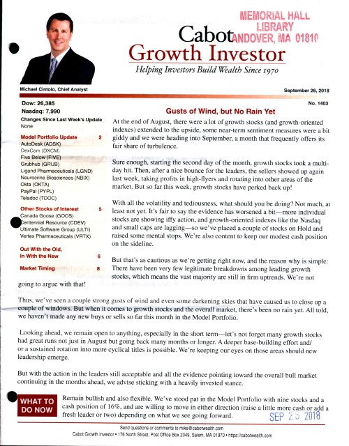Cabot Growth Investor
