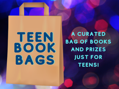 curated bag of books and prizes for teens