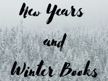 """New Years and Winter Books"" on a background of snowy evergreen trees."