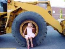 Girl in front loader