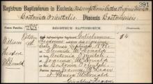 Latin Language Roman Catholic Baptismal Register