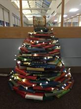 Holiday tree of books