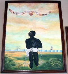 Anti-slavery banner reproduction painting: Am Not I a Man and a Brother.