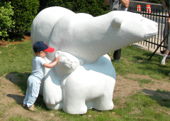 boy and polar bear sculpture
