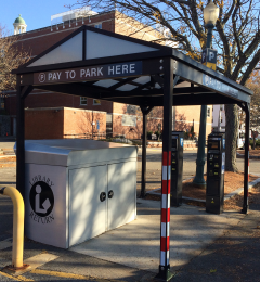 Parking kiosks in the library parking lot