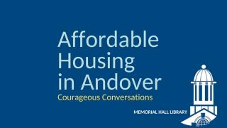 Affordable Housing in Andover Panel Discussion